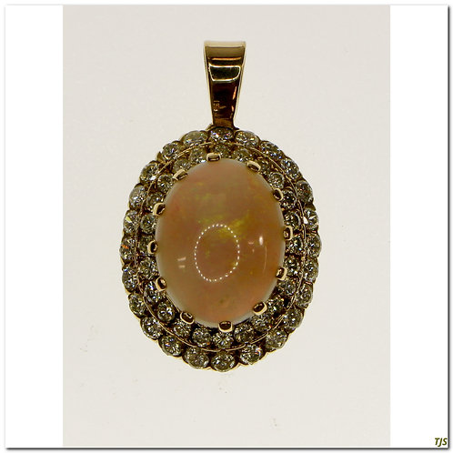 Gold Diamond & Opal Pendant