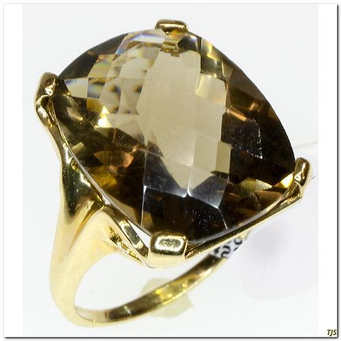Gold Smokey Quartz Ring