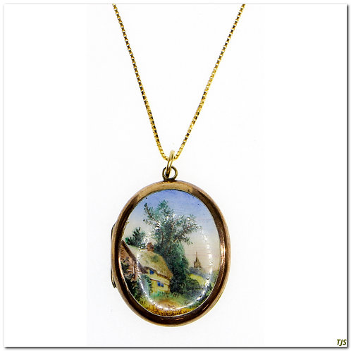 Gold Enameled Engraved Victorian Locket