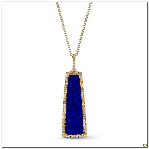 Gold Diamond & Lapis Necklace