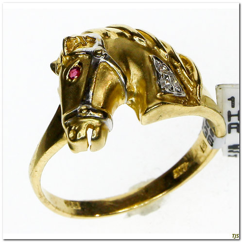Gold Ruby Horse Ring
