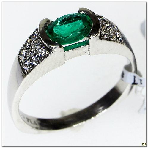 Platinum Diamond & Emerald Ring
