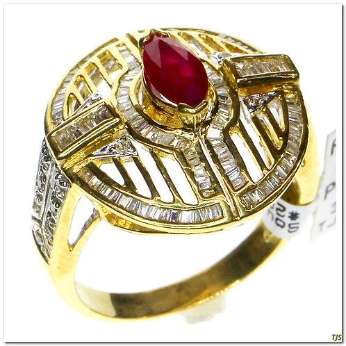 Gold Diamond & Ruby Ring