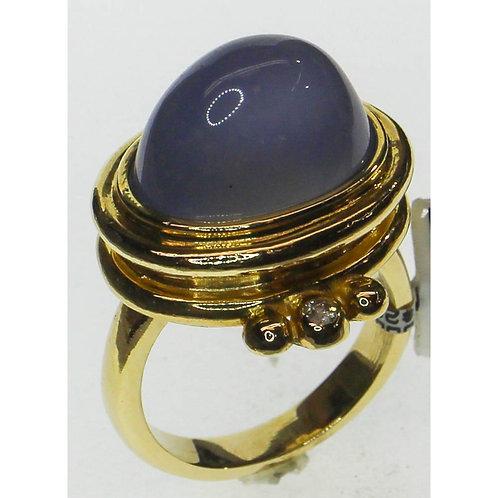 Gold Diamond & Blue Agate Ring
