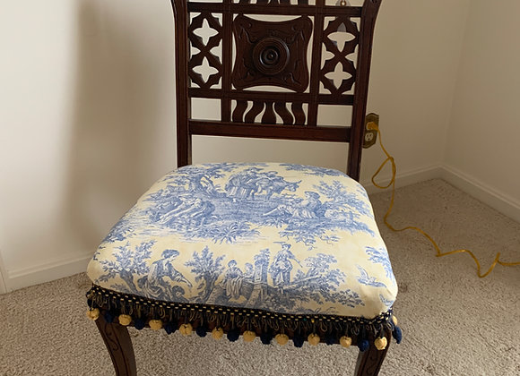 Carved Wood Toile Fabric Chair