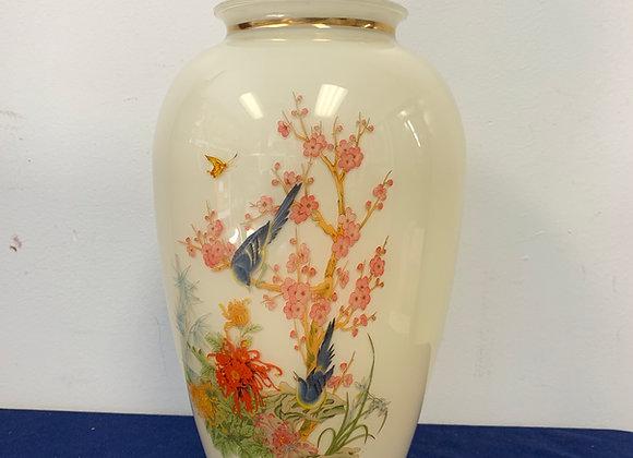 Blue Bird, Cherry Blossom Glass Vase