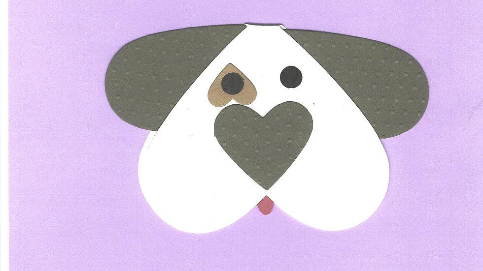 #1301 Heart Shaped Dog Card