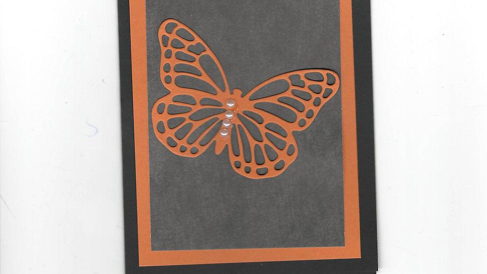 #200  Butterfly Card - Orange