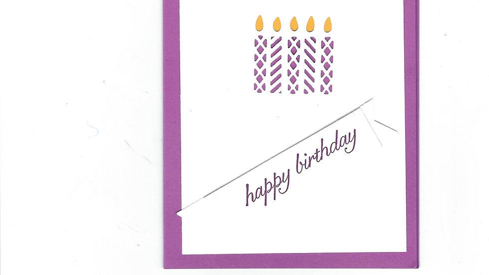 # 904     5 Candle Eyelet Happy Birthday Card