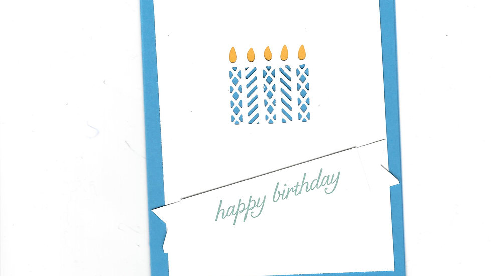 # 902     5 Candle Eyelet Happy Birthday Card