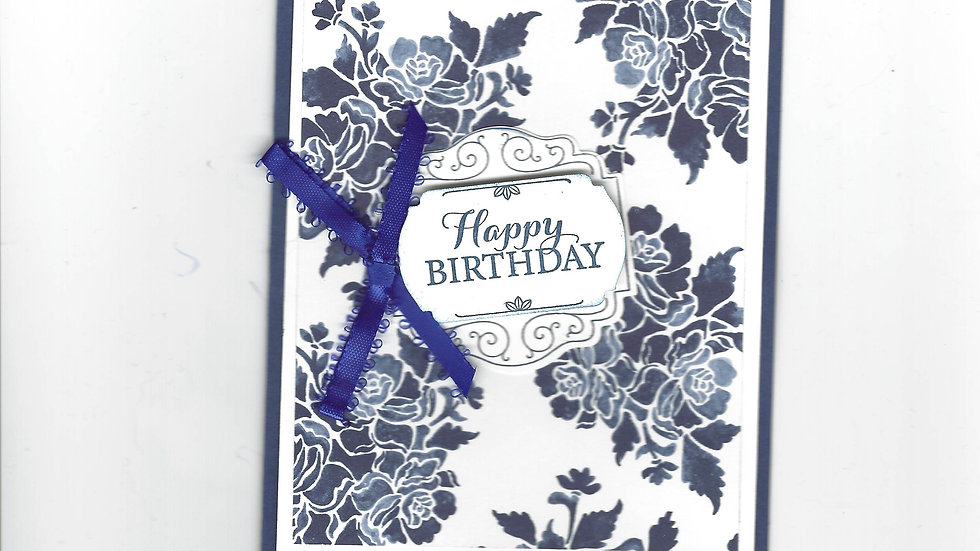 # 400  Navy & White Floral Happy Birthday Card