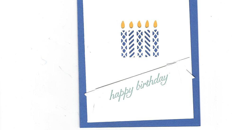 # 901    5 Candle Eyelet Happy Birthday Card