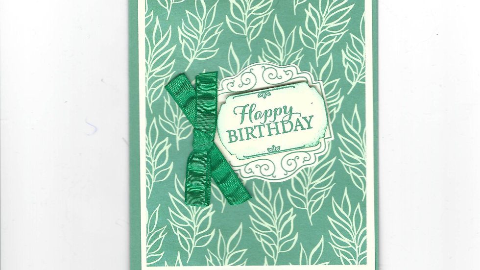# 401  Ivory & Green Leaf Happy Birthday Card