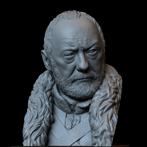 Davos seaworth, Liam cunningham, game of thrones, sculpture, bust, 3d printing