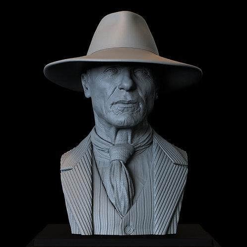 ed harris, man in black, westworld, hbo, sculpture, bust, 3d printing