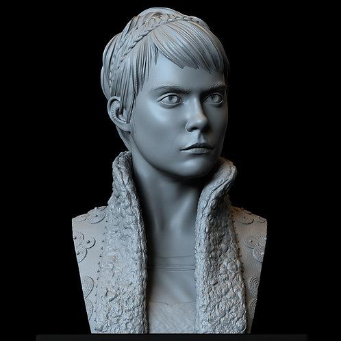 vignette stonemoss, Cara Delevingne, carnival row, sculpture, bust, 3d printing
