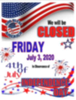 July 4th 2020 - closing Friday for Satur