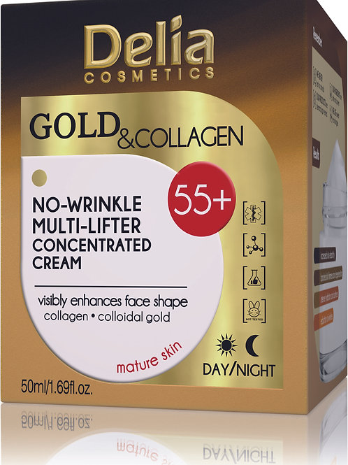 Delia - 55+ Gold & Collagen No Wrinkle Multi Lifter Concentrated Cream - 50 ml