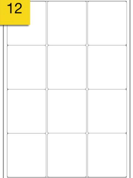 A4 Sticker Label - 12 labels per sheet - 64 mm x 72 mm