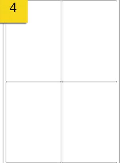 A4 Sticker Label - 4 labels per sheet - 99 mm x 139 mm