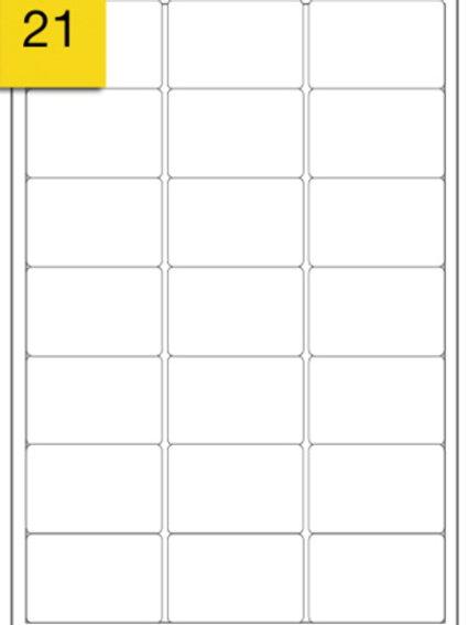 A4 Sticker Label - 21 labels per sheet - 64 mm x 38 mm