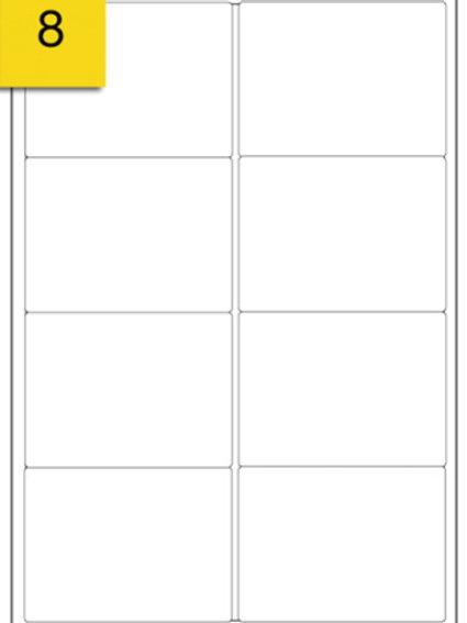 A4 Sticker Label - 8 labels per sheet - 99 mm x 68 mm