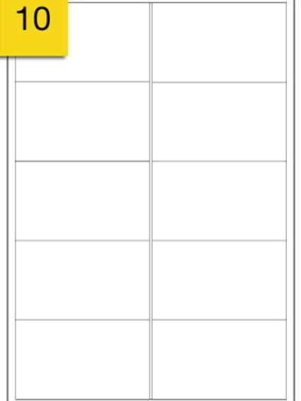 A4 Sticker Label - 10 labels per sheet - 99 mm x 57 mm
