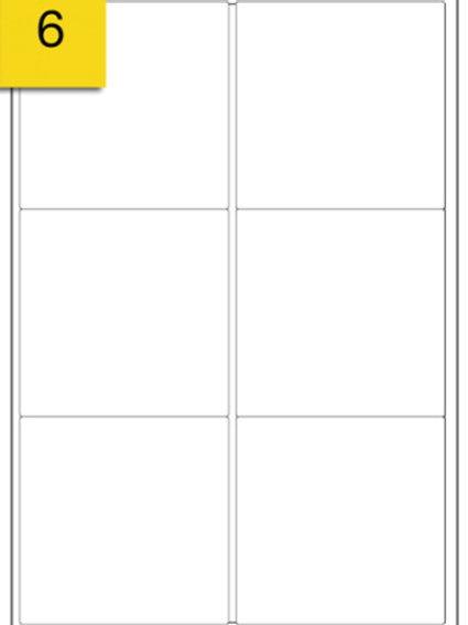 A4 Sticker Label - 6 labels per sheet - 99 mm x 93 mm