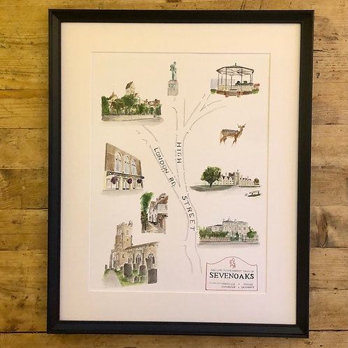 Sevenoaks illustrated map fine art print