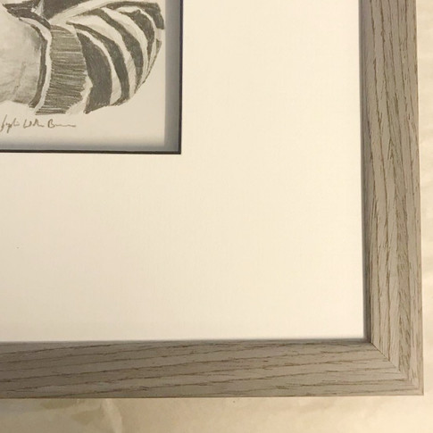 A beautiful light grey wooden frame with a nice grain