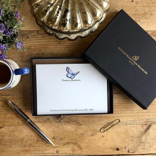 Butterflies personalised luxury note cards