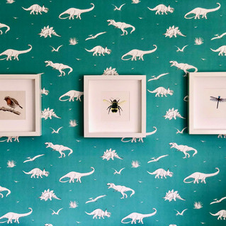 Robin, bee and dragonfly against dinosau