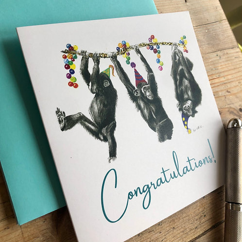 Congratulations chimps greeting card