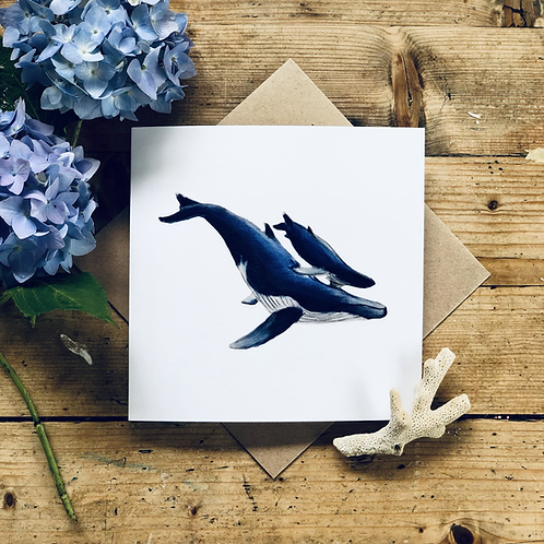 """""""Into the Blue"""" blue whales mum and baby greeting card"""
