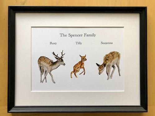 Personalised deer family portrait