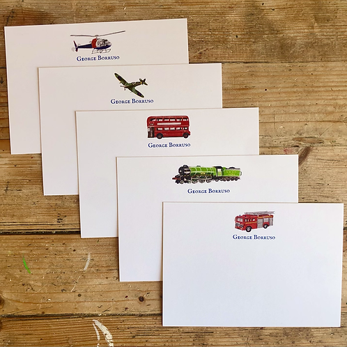 Transport luxury personalised note cards