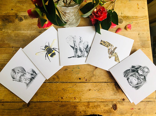 Greeting Cards x5: Endangered Species Collection