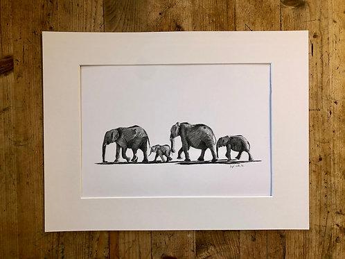 Original artwork: Elephants 'Follow the Leader' (1 of 1)