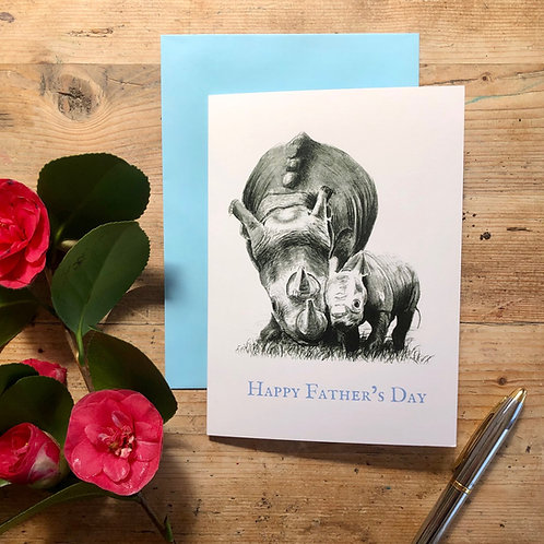 Happy Father's Day rhinos greeting card