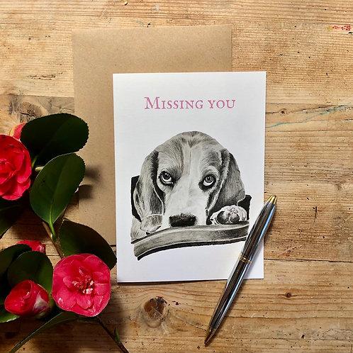 'Missing You' beagle dog eyes greeting card