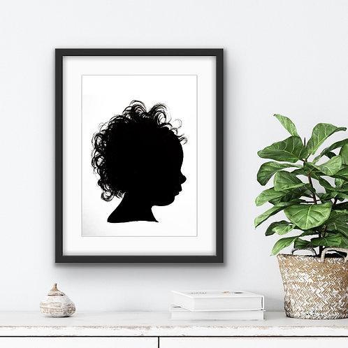 A bespoke painted Silhouette Portrait