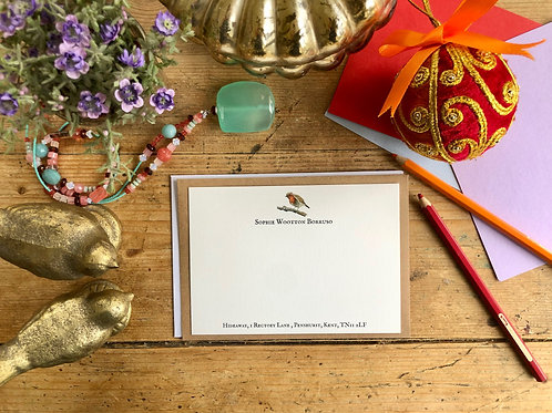 Robin Red Breast Personalised luxury notecards