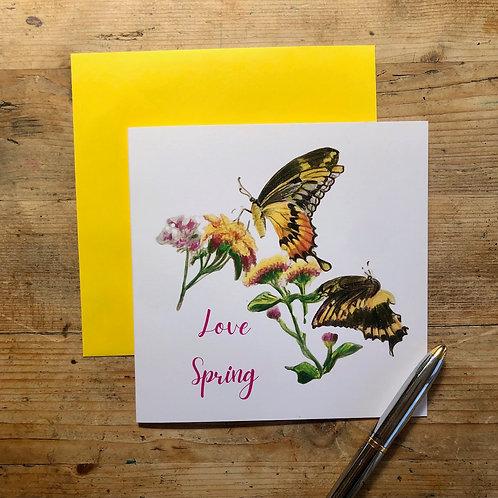 'Love Spring' butterflies greeting card