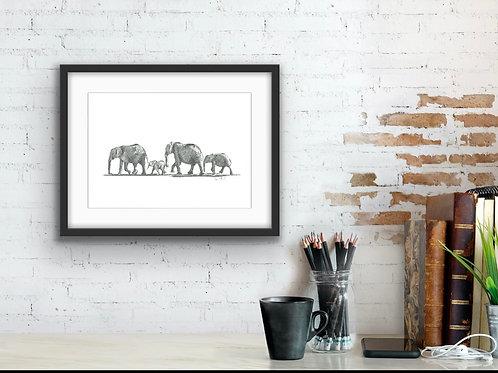 Elephant herd 'Follow the Leader' fine art print