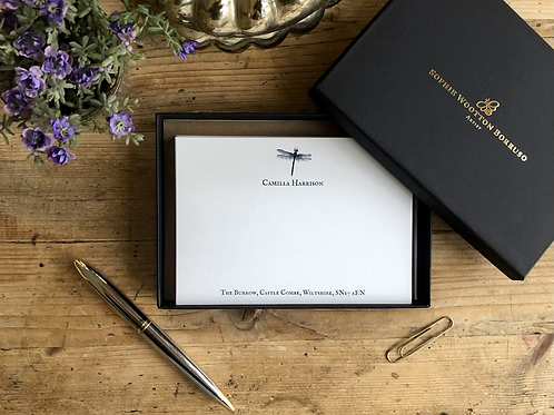 Dragonfly luxury personalised notecards