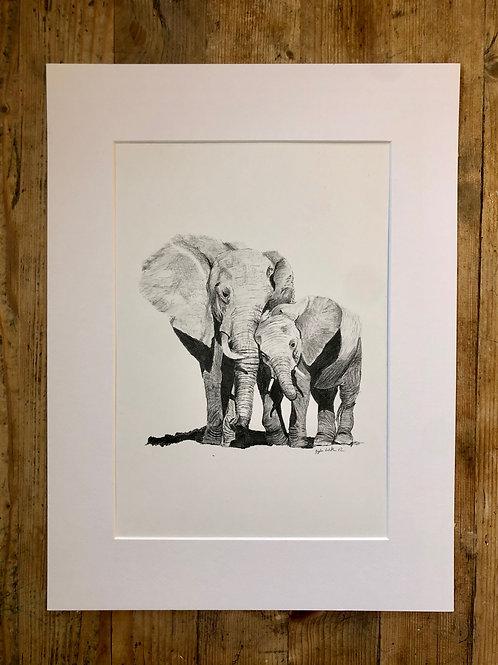 Original artwork Elephants: A mother's love (1 of 1)