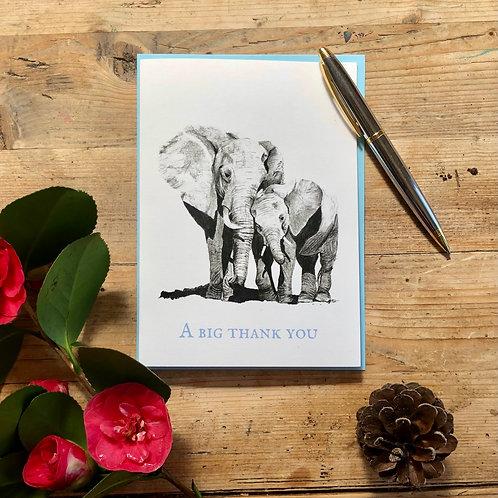 'A Big Thank You' elephants greeting card