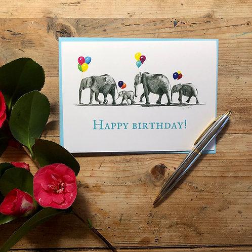 Happy Birthday elephant parade greeting card