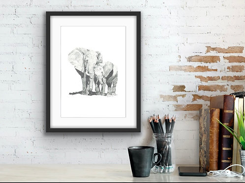 Elephants: A mother's love fine art print
