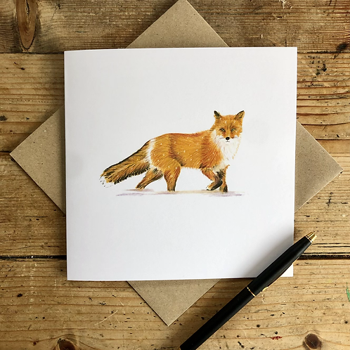 Red fox in the snow large square greeting card